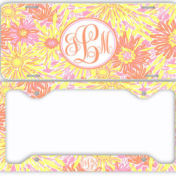 Yellow Pink Daisies Flowers Floral License Plate Car Tag Monogrammed Frame Personalized Set Custom Initials