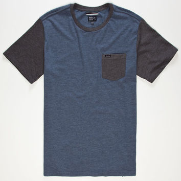 Rvca Change Up Mens Pocket Tee Midnight Blue  In Sizes