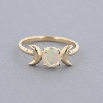 Triple Moon Goddess Ring-Solid 14k Gold with Opal