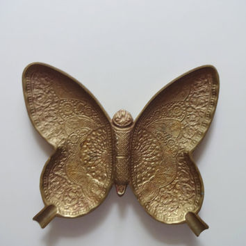 Vintage Brass Butterfly Ashtray 1970s