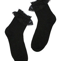 Crochet Lace Frill Socks in Black – bandbcouture.com