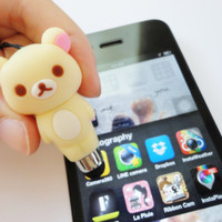 SALE 20-80%: Stylus,Charm and Dust Plug 3 in 1 Cute Rilakkuma stylus for iPad. iPhone. Samsung. HTC. Kuma. Rilakkuma. Japanes. Kawaii