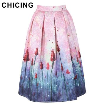 CHICING Women Pink Dandelion Gradient Floral Print High Waist Midi Skirt 2017 Spring Summer Lady Circle Saia Femininas A1612029