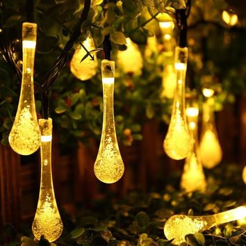 30x Easy to Setup LED Waterproof Solar Powered Water Drop Fairy Lights for Outdoor Home Garden Decor Trees Parties Christmas
