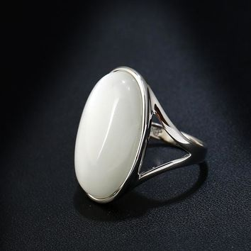 K's Gadgets Oval Big Opal Rings For Women Vintage Band Silver Plated White Natural Stone Wedding Engagement Ring Jewelry