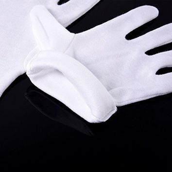 12 pairs White Cotton Gloves Serving / Waiters Gloves Etiquette driver Concierge Butler Snooker Equestrian Gloves