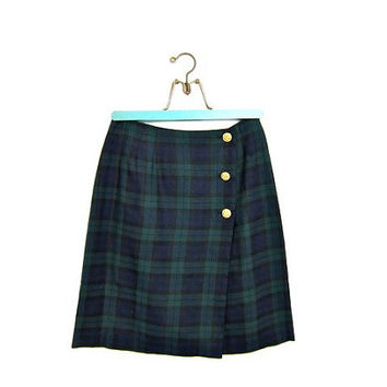 vintage plaid mini skirt. school girl skirt. green blue black revival skirt. preppy wrap skirt. women's skirt size XS 4