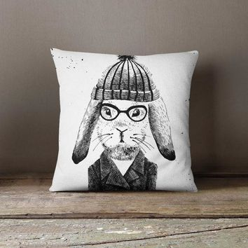 Rabbit Hipster Decorative Throw Pillow Case Pillow Cover Design Pillowcase Birthday Gift Idea Him Her Home Decor Animal Hipster Fashion Hare