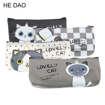 ONETOW Kawaii cat school pencil bags cute silicone waterproof pencil case for girls kids gift Korean stationery office school supplies