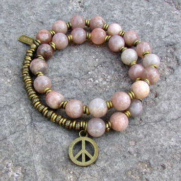 Independence and Joy, Sunstone 27 bead mala wrap bracelet™