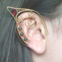 Gold Plated Handmade Wire Wrapped Elf Ear Cuffs With Hematite & Ruby Swarovski Elements. Wire Weave, Spiral, Elven Ears, LARP