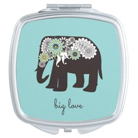 Paisley Elephant Big Love Cute Modern Turquoise Compact Mirror
