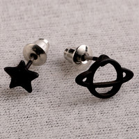 Black Star and Saturn Shape Earrings