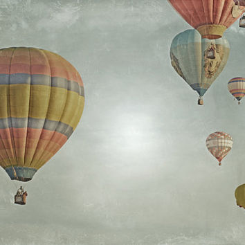 Hot Air Balloons Photography Print 11x14 Fine Art Dreamy Whimsical Sky Glow Nursery Landscape Photography Print.