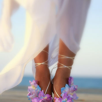 Colorful Hawaian flower barefoot sandal, beach wedding barefoot sandals, bangle, wedding anklet,nude shoes