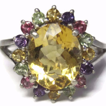 Citrine Multi Stone Cocktail Ring Size 9