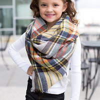 Girls Perfect for Fall Oversized Blanket Scarf Gray