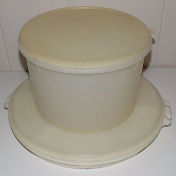 "Vintage Tupperware Party Susan Serving Tray 405-2, 9"" Canister 267-3"