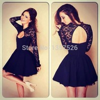 Trendy Sheer lace long sleeves short cocktail Prom dresses 2014 short Black homecoming dresses hot sale party dresses TK176-in Homecoming Dresses from Apparel & Accessories on Aliexpress.com | Alibaba Group