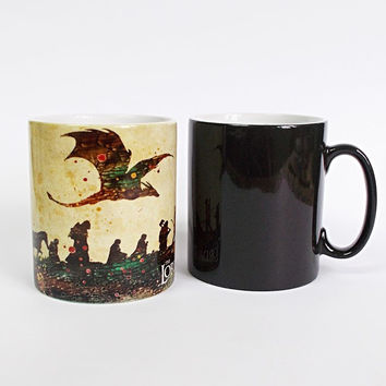 The Lord of The Rings mugs morph coffee mug disappearing mugs the hobbit cups transforming novelty heat changing color tea cups