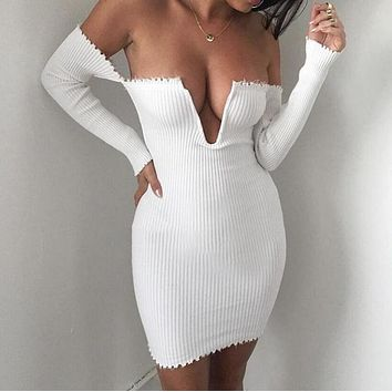 Autumn and winter new women 's fashion tidal a word collar strapless sexy dress white