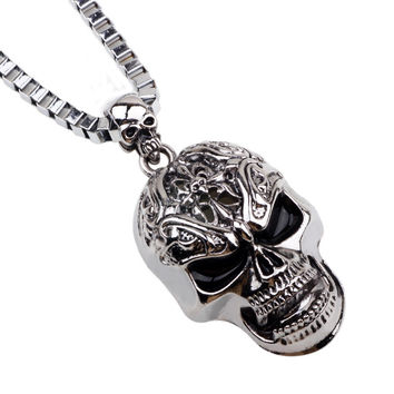 Halloween Jewelry Skull Link Chain Necklaces for Male Necklace Men Silver Neckless Vintage Colar Masculino Hip Hop Dance Jewlery