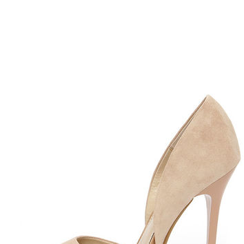 Steve Madden Varcityy Blush Suede Leather D'Orsay Pumps