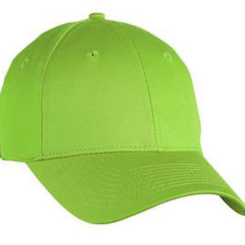Lime Green Hard Cotton Baseball Cap