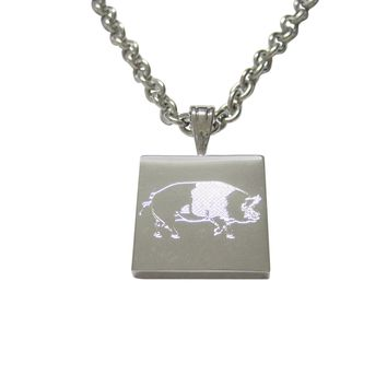 Silver Toned Etched Pig Pendant Necklace