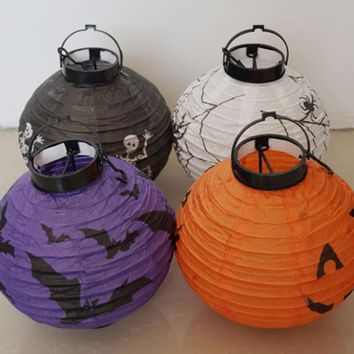 1pc Spider Bat Pumpkin Printed Halloween Lantern Wall Hanging Lanterns LED Light Lamp for Home School Party Supplies 4 Colors
