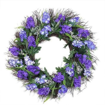 "22"" Shades of Purple Artificial Lilac and Heather Spring Floral Wreath - Unlit"