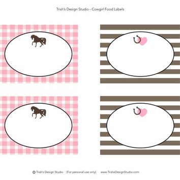 Cowgirl/Pony Party Pink and Brown Gingham Printable Food Labels: INSTANT DOWNLOAD