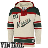 Minnesota Wild Old Time Hockey Home Lace Heavyweight Hoodie – Stone