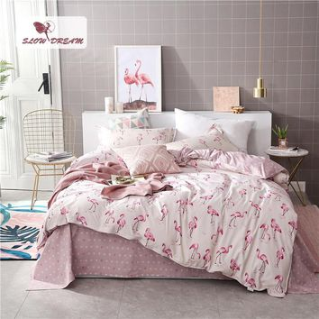Cool SlowDream Pink Flamingos Bedding Set Duvet Cover Bedspread Comforter Bed Sheets Double Linens Set Queen King Adult BedclothesAT_93_12