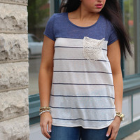Laced in Stripes Top {Blue}