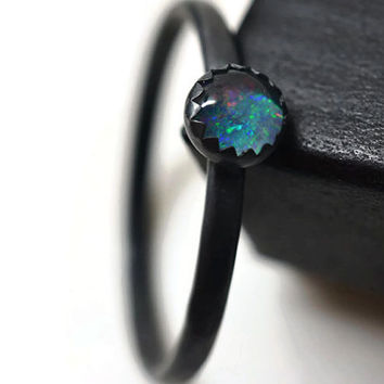 Minimalist Ring, Oxidized Ring, Dark Opal Ring, Blackened Silver Ring, Handforged Ring