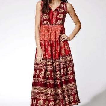 Raga Indian Summer Boho Maxi Dress - Womens Dress - Red