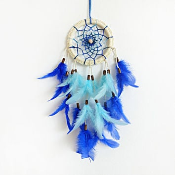 Dremcatcher, Royal Blue Dream Catcher, Home Decor, Boho Dreamcatcher, Wall Hanging, Feathers, Gypsy, Boho, Unique