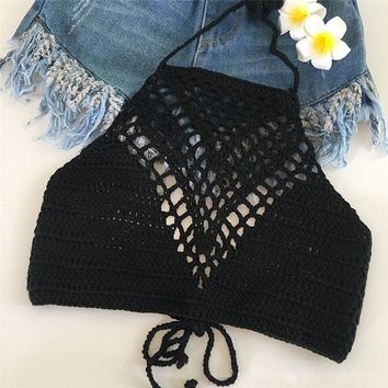 Vintage Crochet Crop Top Beachwear Sexy Hot Hollow Out Lace Bralette Knitting Handmade Y Tops Fitness Cropped