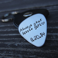 Personalized Guitar Pick Keychain-Hand Stamped Stainless Steel Guitar Pick-Father of the Bride-Groomsmen Gift-Anniversary Gift for Him