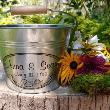 Custom Flower Girl Pail - Rustic Wedding - Personalized Wedding Bucket - Galvanized Metal Pail - Medium (3qt) or Large (6qt)