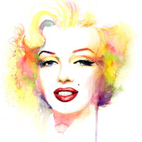 Marilyn Monroe Watercolor Painting Print - Yellow Pink