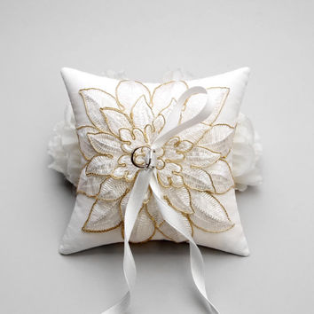 Gold flower wedding ring pillow, bridal ring pillow, wedding pillow, wedding ring bearer, ceremony pillow - Viola