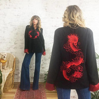 Vintage 1970's SILK Embroidered Kimono Robe Jacket || Red Dragon Embroidery || Ladies Medium