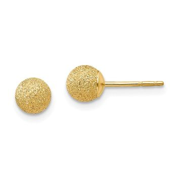 5mm Textured Ball Friction Back Post Earrings in 14k Yellow Gold