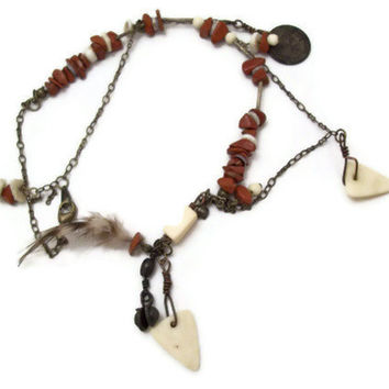 Tribal Necklace with Buffalo Bone, and Vintage canadian coin