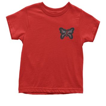 Embroidered Rhinestone Butterfly (Pocket Print) Youth T-shirt