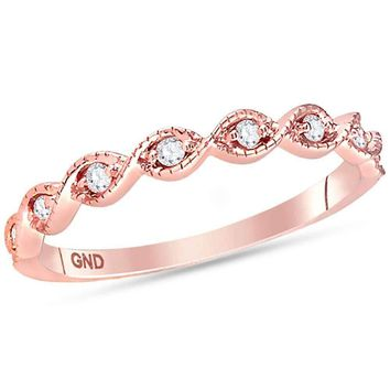 14kt Rose Gold Womens Round Diamond Contoured Stackable Band Ring 1-10 Cttw