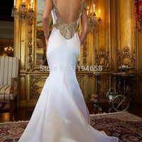 2016 Sexy Lady New Fashion Cap Sleeves White Mermaid Bare Back Pin Up Brand Hot Selling Floor Length Pageant Prom Dresses