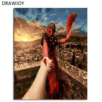 DRAWJOY Framed DIY Painting By Numbers DIY Oil Painting Painting&Calligraphy Hand Painted On Canvas Wall Art